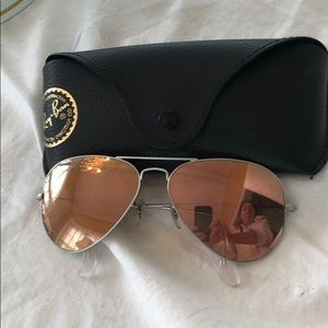 Ray-Ban aviator mirrored sunglasses silver frame